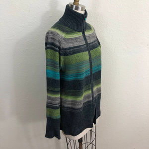 Eddie Bauer Cardigan Sz M Gray Green Blue